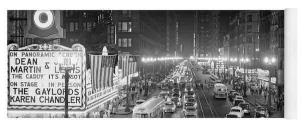 1950s 1953 Night Scene Of Chicago State Yoga Mat