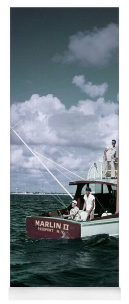 1950s 3 Men On Charter Fishing Boat Yoga Mat
