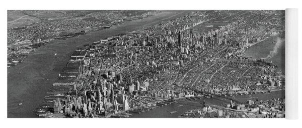 1950s Aerial View Of Manhattan Island Yoga Mat