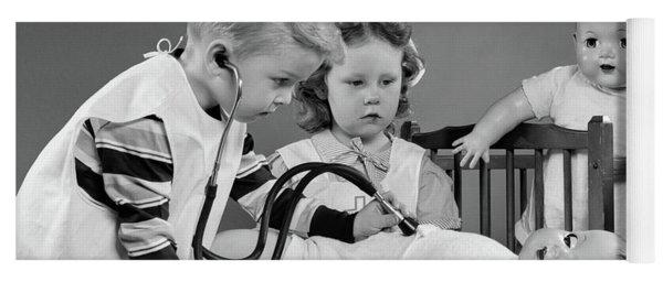 1950s Boy And Girl Playing Doctor Yoga Mat