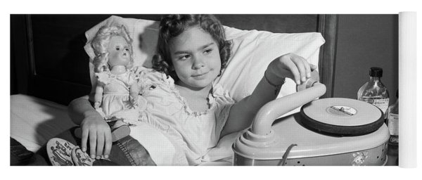 1950s Girl Sick In Bed Playing Records Yoga Mat