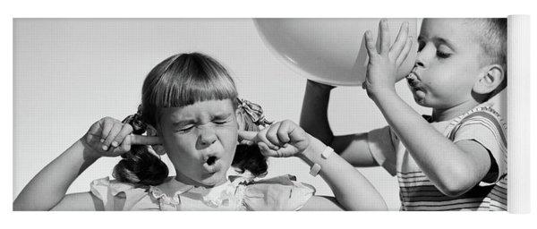 1950s Little Boy Blowing Up Big Balloon Yoga Mat