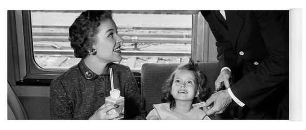 1950s Mother And Daughter On Train Yoga Mat