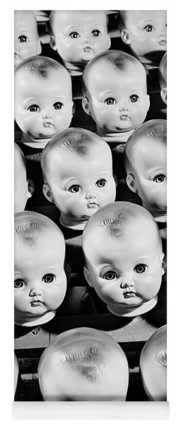 1950s Rows Of Baby Doll Heads Yoga Mat