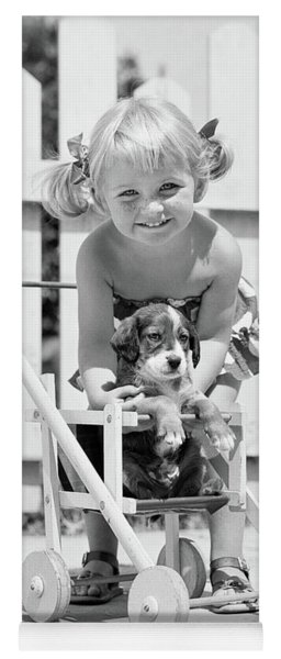 1950s Smiling Girl With Blonde Pigtails Yoga Mat