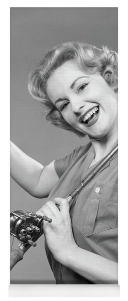1950s Smiling Woman With A Fishing Rod Yoga Mat