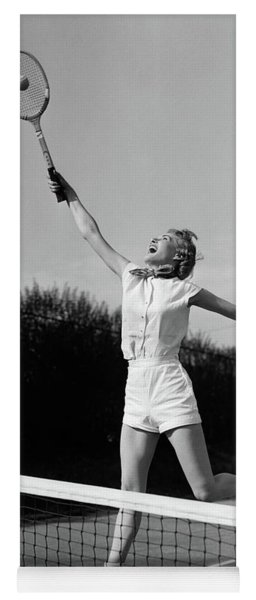 1950s Woman Jumping To Hit Tennis Ball Yoga Mat