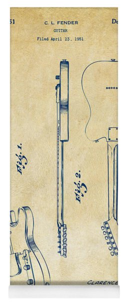 1951 Fender Electric Guitar Patent Artwork - Vintage Yoga Mat