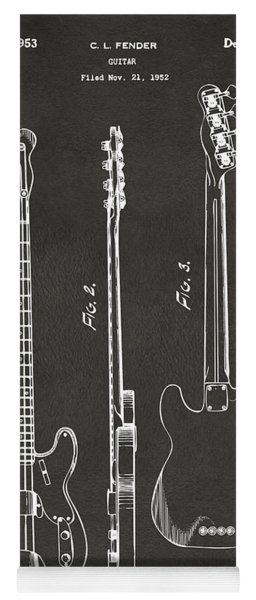 Yoga Mat featuring the digital art 1953 Fender Bass Guitar Patent Artwork - Gray by Nikki Marie Smith