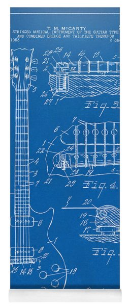 Yoga Mat featuring the digital art 1955 Mccarty Gibson Les Paul Guitar Patent Artwork Blueprint by Nikki Marie Smith