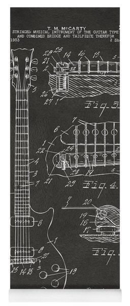 Yoga Mat featuring the digital art 1955 Mccarty Gibson Les Paul Guitar Patent Artwork - Gray by Nikki Marie Smith