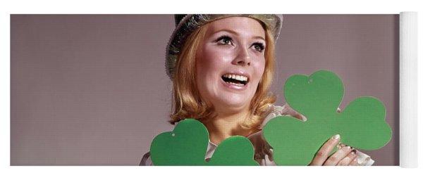 1960s Irish Woman Smiling Holding Green Yoga Mat