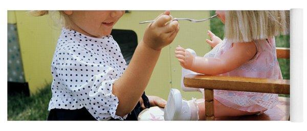 1960s Little Girl Playing Feeding Doll Yoga Mat