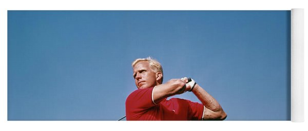 1960s Man Driving Golf Ball Swing Yoga Mat