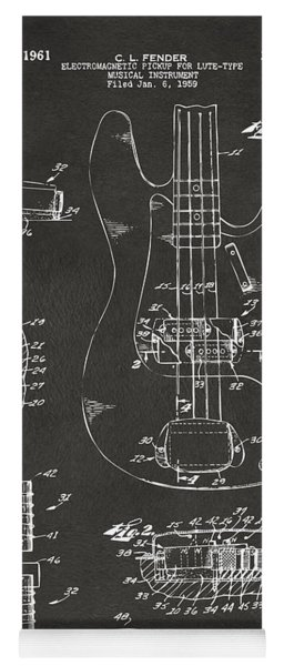 Yoga Mat featuring the digital art 1961 Fender Guitar Patent Artwork - Gray by Nikki Marie Smith
