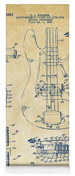 1961 Fender Guitar Patent Artwork - Vintage Yoga Mat