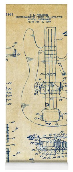Yoga Mat featuring the digital art 1961 Fender Guitar Patent Artwork - Vintage by Nikki Marie Smith