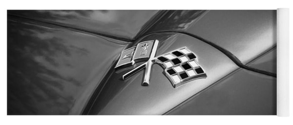 1966 Chevrolet Corvette Coupe Emblem  Bw Yoga Mat