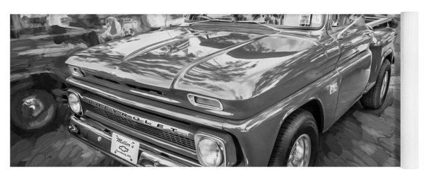 1966 Chevy C10 Pick Up Truck Painted Bw Yoga Mat