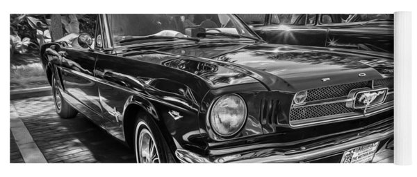 1966 Ford Mustang Convertible Painted Bw    Yoga Mat