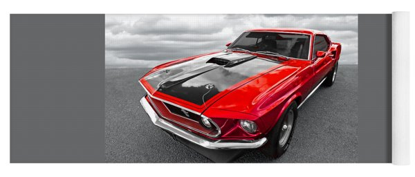 1969 Red 428 Mach 1 Cobra Jet Mustang Yoga Mat