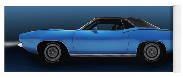1970 Cuda 440 Illustration From Vivachas Yoga Mat
