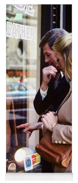 1970s Couple Man Woman Window Shopping Yoga Mat