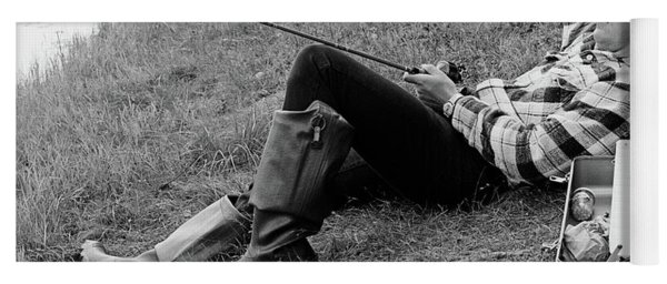 1970s Man Sleeping Against A Tree Trunk Yoga Mat