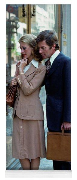 1970s Man Woman Couple Window Shopping Yoga Mat