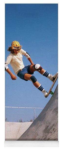 1970s Teenage Boy Wearing Safety Yoga Mat