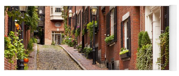 Yoga Mat featuring the photograph Acorn Street Boston by Brian Jannsen