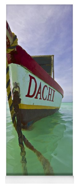 Anchored Colorful Fishing Boat Of Aruba II Yoga Mat