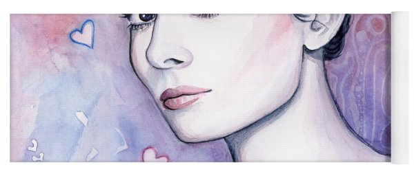 Audrey Hepburn Fashion Watercolor Yoga Mat