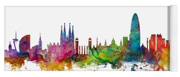 Barcelona Spain Skyline Yoga Mat