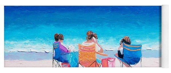 Beach Painting 'girl Friends' By Jan Matson Yoga Mat