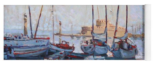 Boats In Rhodes Greece  Yoga Mat