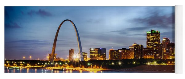 City Of St. Louis Skyline. Image Of St. Louis Downtown With Gate Yoga Mat