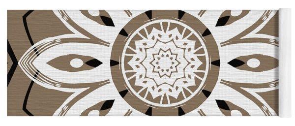 Coffee Flowers 8 Olive Ornate Medallion Yoga Mat