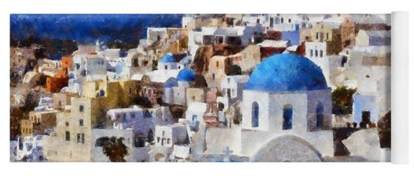 Colorful Oia In Santorini Island Yoga Mat