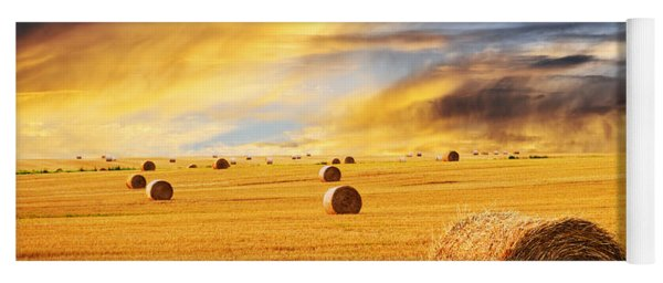 Golden Sunset Over Farm Field With Hay Bales Yoga Mat