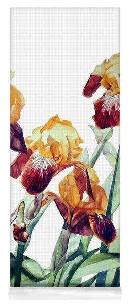 Watercolor Of Tall Bearded Irises I Call Iris La Vergine Degli Angeli Verdi Yoga Mat