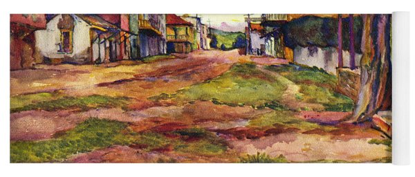 Main Street Of Early Spanish California Days San Juan Bautista Rowena M Abdy Early California Artist Yoga Mat
