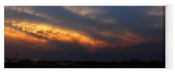 Yoga Mat featuring the photograph Nebraska Mammatus Sunset by NebraskaSC