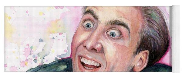 Nicolas Cage You Don't Say Watercolor Portrait Yoga Mat