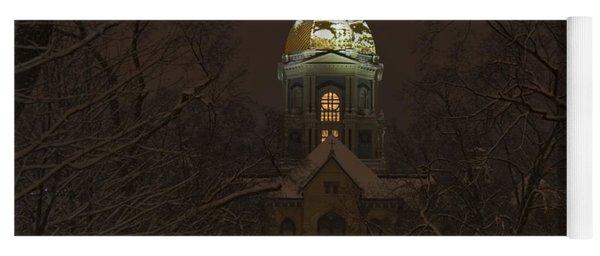 Notre Dame Golden Dome Snow Yoga Mat