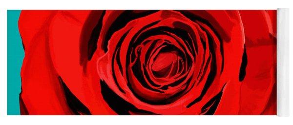 Painting Of Single Rose Yoga Mat