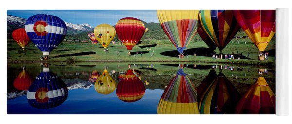 Reflection Of Hot Air Balloons Yoga Mat
