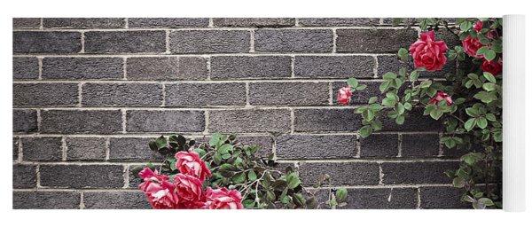 Roses On Brick Wall Yoga Mat