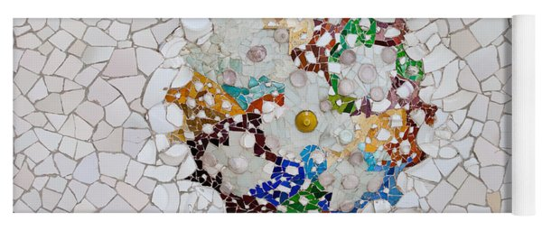 Trencadis Mosaic In Park Guell In Barcelona Yoga Mat