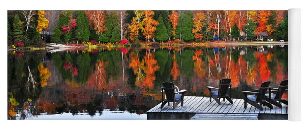 Wooden Dock On Autumn Lake Yoga Mat